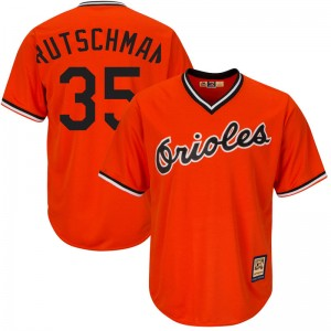 Men's Majestic Baltimore Orioles Adley Rutschman Replica Orange Cool Base Alternate Jersey