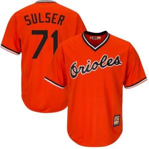 Men's Majestic Baltimore Orioles Cole Sulser Replica Orange Cool Base Alternate Jersey