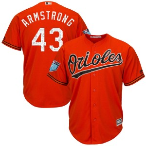 Youth Majestic Baltimore Orioles Shawn Armstrong Authentic Orange Cool Base 2018 Spring Training Jersey