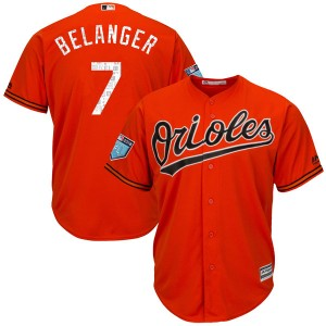 Youth Majestic Baltimore Orioles Mark Belanger Authentic Orange Cool Base 2018 Spring Training Jersey