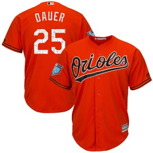 Youth Majestic Baltimore Orioles Rich Dauer Authentic Orange Cool Base 2018 Spring Training Jersey