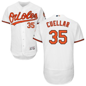 Men's Majestic Baltimore Orioles Mike Cuellar Authentic White Flex Base Home Collection Jersey