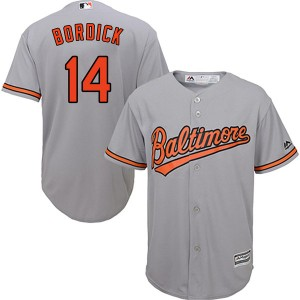Men's Majestic Baltimore Orioles Mike Bordick Replica Grey Cool Base Road Jersey