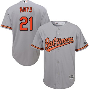 Men's Majestic Baltimore Orioles Austin Hays Replica Grey Cool Base Road Jersey