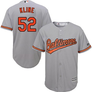 Men's Majestic Baltimore Orioles Branden Kline Replica Grey Cool Base Road Jersey