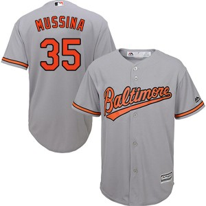 Men's Majestic Baltimore Orioles Mike Mussina Replica Grey Cool Base Road Jersey