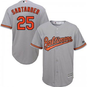 Men's Majestic Baltimore Orioles Anthony Santander Replica Grey Cool Base Road Jersey