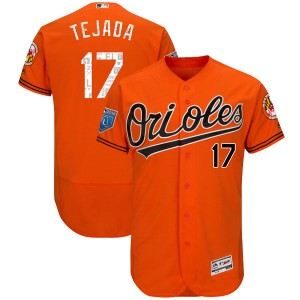 Men's Majestic Baltimore Orioles Ruben Tejada Authentic Orange Flex Base 2018 Spring Training Jersey