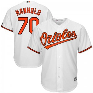 Youth Majestic Baltimore Orioles Eric Hanhold Replica White Cool Base Home Jersey