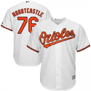 Youth Majestic Baltimore Orioles Ryan Mountcastle Replica White Cool Base Home Jersey