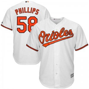 Youth Majestic Baltimore Orioles Evan Phillips Replica White Cool Base Home Jersey