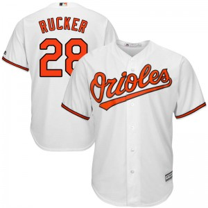 Youth Majestic Baltimore Orioles Michael Rucker Replica White Cool Base Home Jersey