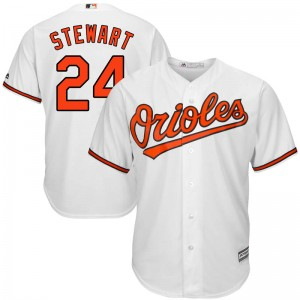Youth Majestic Baltimore Orioles DJ Stewart Replica White Cool Base Home Jersey