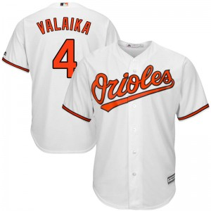 Youth Majestic Baltimore Orioles Pat Valaika Replica White Cool Base Home Jersey