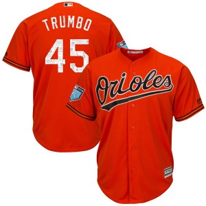 Youth Majestic Baltimore Orioles Mark Trumbo Replica Orange Cool Base 2018 Spring Training Jersey