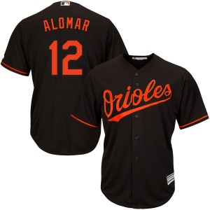 Men's Majestic Baltimore Orioles Roberto Alomar Replica Black Cool Base Alternate Jersey