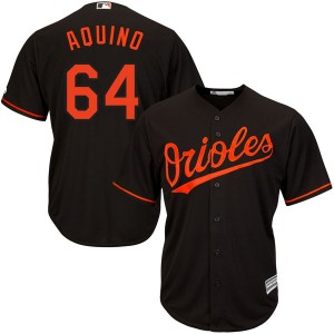 Men's Majestic Baltimore Orioles Jayson Aquino Replica Black Cool Base Alternate Jersey