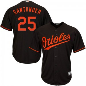 Men's Majestic Baltimore Orioles Anthony Santander Replica Black Cool Base Alternate Jersey