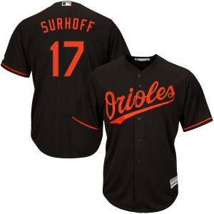 Men's Majestic Baltimore Orioles Bj Surhoff Replica Black Cool Base Alternate Jersey