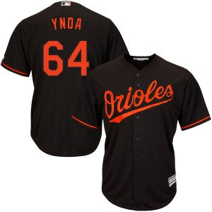 Men's Majestic Baltimore Orioles Gabriel Ynoa Replica Black Cool Base Alternate Jersey