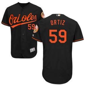 Men's Majestic Baltimore Orioles Luis Ortiz Authentic Black Flex Base Alternate Collection Jersey