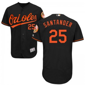 Men's Majestic Baltimore Orioles Anthony Santander Authentic Black Flex Base Alternate Collection Jersey