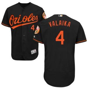 Men's Majestic Baltimore Orioles Pat Valaika Authentic Black Flex Base Alternate Collection Jersey