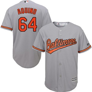 Youth Majestic Baltimore Orioles Jayson Aquino Replica Grey Cool Base Road Jersey