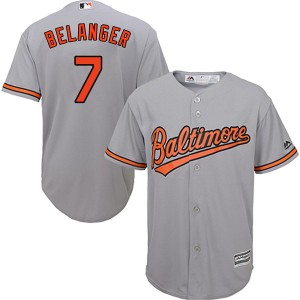 Youth Majestic Baltimore Orioles Mark Belanger Replica Grey Cool Base Road Jersey