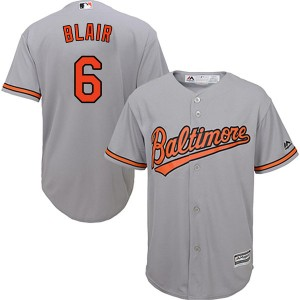 Youth Majestic Baltimore Orioles Paul Blair Replica Grey Cool Base Road Jersey