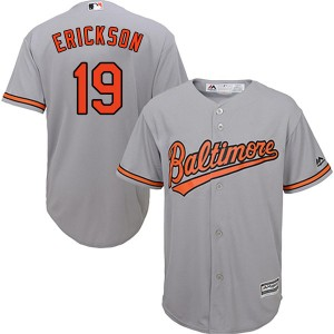 Youth Majestic Baltimore Orioles Scott Erickson Replica Grey Cool Base Road Jersey