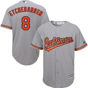 Youth Majestic Baltimore Orioles Andy Etchebarren Replica Grey Cool Base Road Jersey