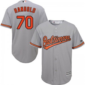 Youth Majestic Baltimore Orioles Eric Hanhold Replica Grey Cool Base Road Jersey