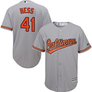 Youth Majestic Baltimore Orioles David Hess Replica Grey Cool Base Road Jersey