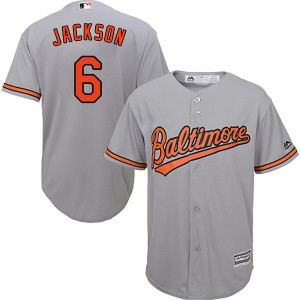 Youth Majestic Baltimore Orioles Drew Jackson Replica Grey Cool Base Road Jersey