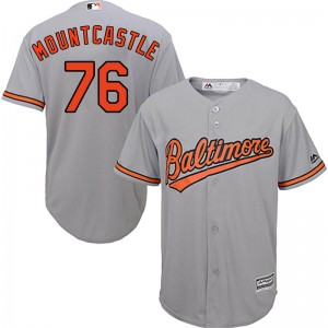 Youth Majestic Baltimore Orioles Ryan Mountcastle Replica Grey Cool Base Road Jersey