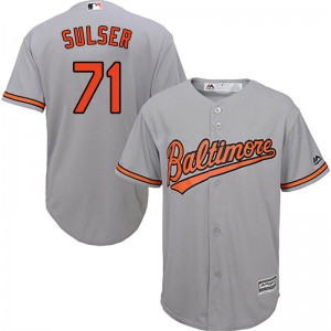 Youth Majestic Baltimore Orioles Cole Sulser Replica Grey Cool Base Road Jersey