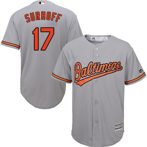 Youth Majestic Baltimore Orioles Bj Surhoff Replica Grey Cool Base Road Jersey