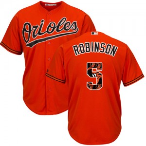 Men's Majestic Baltimore Orioles Brooks Robinson Authentic Orange Team Logo Fashion Cool Base Jersey