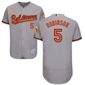 Men's Majestic Baltimore Orioles Brooks Robinson Authentic Grey Flexbase Collection Jersey