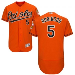 Men's Majestic Baltimore Orioles Brooks Robinson Authentic Orange Flexbase Collection Jersey