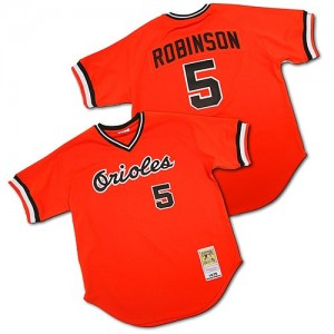 Men's Mitchell and Ness Baltimore Orioles Brooks Robinson Authentic Orange Throwback Jersey
