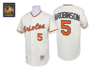 Men's Mitchell and Ness Baltimore Orioles Brooks Robinson Replica Cream Throwback Jersey