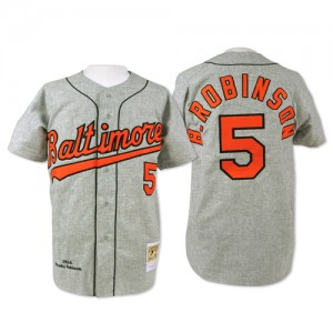 Men's Mitchell and Ness Baltimore Orioles Brooks Robinson Replica Grey Throwback Jersey