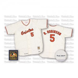 Men's Mitchell and Ness Baltimore Orioles Brooks Robinson Replica White Throwback Jersey