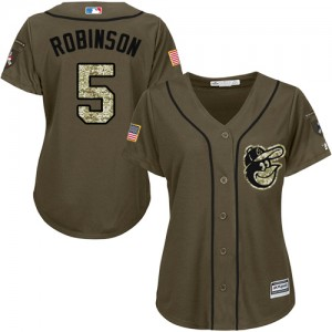 Women's Majestic Baltimore Orioles Brooks Robinson Authentic Green Salute to Service Jersey