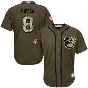 Men's Majestic Baltimore Orioles Cal Ripken Authentic Green Salute to Service Jersey