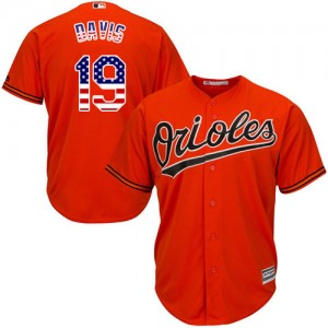 Men's Majestic Baltimore Orioles Chris Davis Authentic Orange USA Flag Fashion Jersey