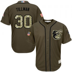 Men's Majestic Baltimore Orioles Chris Tillman Authentic Green Salute to Service Jersey