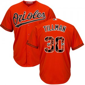Men's Majestic Baltimore Orioles Chris Tillman Authentic Orange Team Logo Fashion Cool Base Jersey